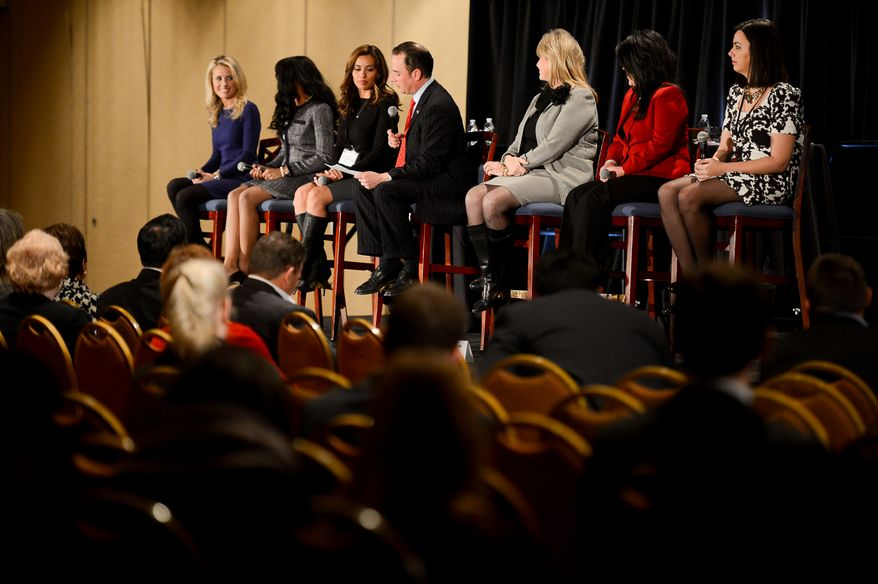 RNC Chairman Reince Priebus, center, and Florida National Committeewoman and RNC Co-Chairman Sharon Day, third from right, introduce Conservative Activist Alison Howard, left, Cabinet Aide to Florida's CFO Chelsi Henry, second from left, New Mexico State Representative Monica Youngblood, third from left, Arizona State Senator Kimberly Yee, second from right, and CRNC Naitonal Chair Alex Smith, right, as the GOP's rising stars at the Republican National Committee's annual winter meeting, Washington, D.C., Thursday, January 23, 2014. (Andrew Harnik/The Washington Times)