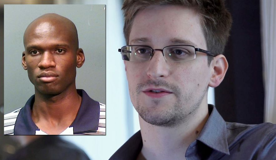 """Washinton Navy Yard shooter Aaron Alexis and Edward Snowden (TWT Photo Illustration)  FILE - This June 9, 2013 file photo provided by The Guardian Newspaper in London shows National Security Agency leaker Edward Snowden, in Hong Kong. Snowden says his """"mission's already accomplished"""" after leaking NSA secrets that have caused a reassessment of U.S. surveillance policies. Snowden told The Washington Post in a story published online Monday night, Dec. 23, 2013, he has """"already won"""" because journalists have been able to tell the story of the government's collection of bulk Internet and phone records. (AP Photo/The Guardian, Glenn Greenwald and Laura Poitras, File)"""