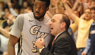 George Washington coach Mike Lonergan and the 15-3 Colonials are getting a boost from the presence of senior forward Isaiah Armwood. Credit: Mitchell Layton/GW Athletics Communications