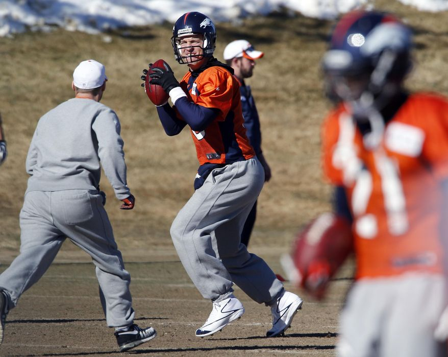 Denver Broncos quarterback Peyton Manning sets up to throw a pass during NFL football practice at the team's training facility in Englewood, Colo., on Friday, Jan. 24, 2014. The Broncos are scheduled to play the Seattle Seahawks in Super Bowl XLVIII on Feb. 2. (AP Photo/Ed Andrieski)