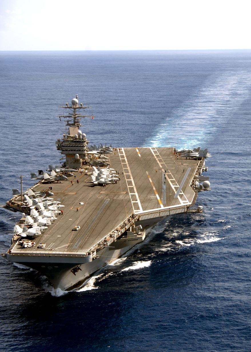 USS Theodore RooseveltNimitz-class aircraft carrier USS Theodore Roosevelt is a 66-ton 010 level structure houses radar, communication and other electronic equipment. Launched in 1984 and delivered to the Navy in 1986, USS Theodore Roosevelt (CVN 71) is the fourth Nimitz-class carrier built at Newport News and is the fourth ship of the class to undergo the major life-cycle milestone of Refueling and Complex Overhaul.ATLANTIC OCEAN (March 27, 2008) The Nimitz-class aircraft carrier USS Theodore Roosevelt (CVN 71) steams in the Atlantic Ocean. Roosevelt and embarked Carrier Air Wing (CVW) 8 are conducting a tailored ship's training availability and final evaluation problem. U.S. Navy photo by Mass Communication Specialist 2nd Class Michael D. Cole (Released)