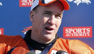 Denver Broncos quarterback Peyton Manning talks to the media after NFL football practice at the team's training facility in Englewood, Colo., on Thursday, Jan. 23, 2014. The Broncos are scheduled to play the Seattle Seahawks in Super Bowl XLVIII on Feb. 2. (AP Photo/Ed Andrieski)