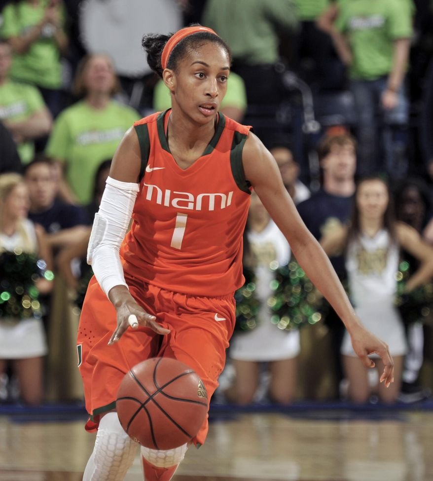 Miami guard Caprice Dennis heads up court during the first half of an NCAA college basketball game with Notre Dame, Thursday, Jan. 23, 2014 in South Bend, Ind. (AP Photo/Joe Raymond)