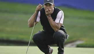 Tiger Woods examines his putt while waiting for his playing partners on the 18th green of the South Course at Torrey Pines during the first round of the Farmers Insurance Open golf tournament Thursday, Jan. 23, 2014, in San Diego.  (AP Photo/Lenny Ignelzi)