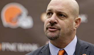 Cleveland Browns coach Mike Pettine speaks during a news conference Thursday, Jan. 23, 2014, in Berea, Ohio. Buffalo's defensive coordinator, who met with team officials for the first time just a week ago, finalized a contract Thursday to become the NFL football team's seventh full-time coach since 1999. (AP Photo/Tony Dejak)