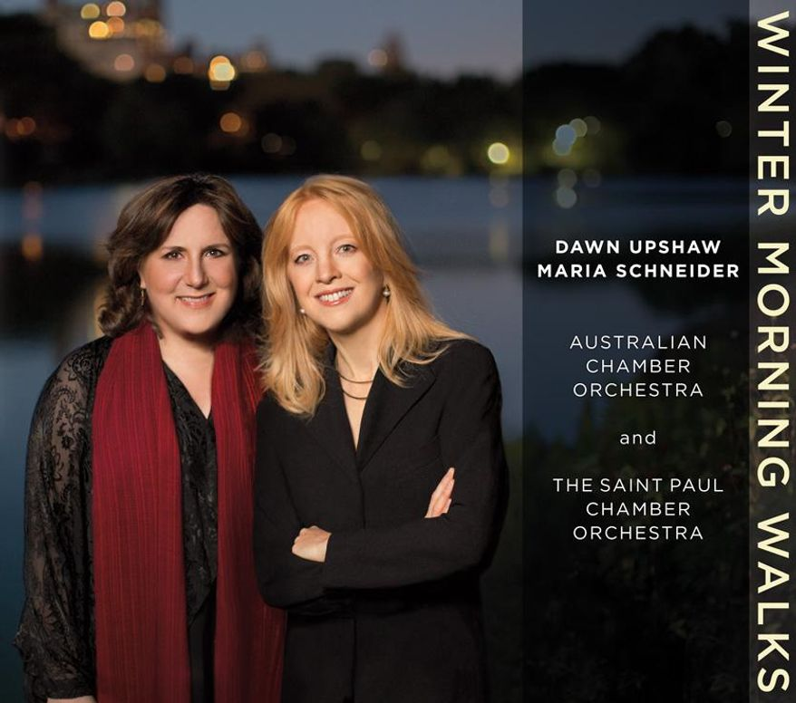 """This CD cover image released by ArtistShare shows """"Winter Storm Walks,"""" by Dawn Upshaw and Maria Schneider. The CD """"Winter Morning Walks"""" is nominated for three Grammys: Best Contemporary Classical Composition  (Maria Schneider), Best Classical Vocal Solo (Dawn Upshaw) and Best Engineered Album, Classical. (AP Photo/ArtistShare)"""