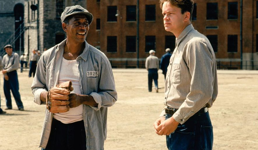 "Actors Morgan Freeman and Tim Robbins in the iconic prison movie ""Shawshank Redemption."""