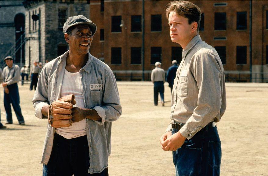 "Actors Morgan Freeman and Tim Robbins in the iconic prison movie ""Shawshank Redemption."""