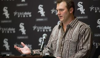 Chicago White Sox's Paul Konerko speaks during the SoxFest annual fan convention on Friday, Jan. 24, 2014, in Chicago. (AP Photo/Andrew A. Nelles)