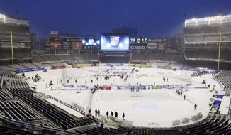 Snow covered the field at Yankee Stadium while preparations are being made of the NHL Stadium Series game between the New York Rangers and the  New Jersey Devils Saturday, Jan. 25, 2014, at Yankee Stadium in New York. (AP Photo/Frank Franklin II)