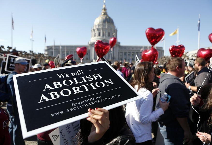 "Abortion opponents gather in San Francisco's Civic Center for the ""Walk for Life"" rally and march, Saturday, Jan. 25, 2014, in San Francisco.  Thousands of abortion opponents marched through downtown San Francisco for the 10th annual ""Walk for Life West Coast."" The protesters rallied at Civic Center Plaza in front of City Hall before marching down Market Street to Justin Herman Plaza.  (AP Photo/Beck Diefenbach)"