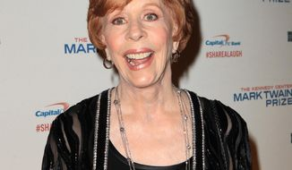 """FILE - In this Oct. 20, 2013 file photo, Carol Burnett arrives at 16th annual Mark Twain Prize where she will be honored at the Kennedy Center, in Washington, D.C. Burnett is a Grammy nominee for her audio book """"Carrie and Me,"""" about her late daughter Carrie Hamilton.  The 56th annual Grammy Awards will be held at the Staples Center on Sunday, Jan. 26, 2014, in Los Angeles. (Photo by Owen Sweeney/Invision/AP, File)"""