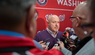 Nationals General Manager, Mike Rizzo,  speaks with reporters at the Gaylord Hotel, during NatsFest 2014, in National Harbor, MD., Saturday, January 25, 2014.  (Andrew S Geraci/The Washington Times)