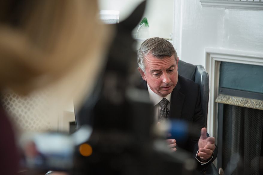 """Ed Gillespie, who is running for U.S. Senate in Virginia, says, """"I'm proud to call George W. Bush a friend. Loyalty is important to me, but I'm running on my own policies now."""" (Andrew S. Geraci/The Washington Times)"""