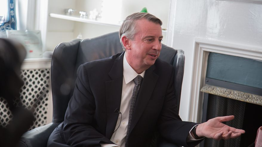Ed Gillespie, who is running for Senate, speaks with Washington Times Reporter, Ralph Hallow, at his campaign office, in Alexandria VA., Friday, January 24, 2014.  (Andrew S Geraci/The Washington Times)