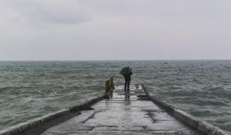In this photo taken Thursday, Jan. 23, 2014, a man with an umbrella stands on the pier in central Sochi, Russia.  The Russian Black Sea resort of Sochi is hosting the Winter Games on Feb. 7-23.  (AP Photo/Nataliya Vasilyeva)