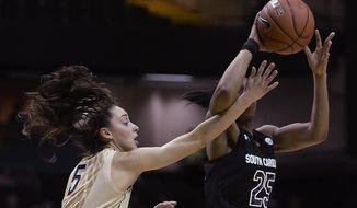 Vanderbilt guard Kady Schrann (5) defends against South Carolina guard Tiffany Mitchell (25) in the first half of an NCAA college basketball game Sunday, Jan. 26, 2014, in Nashville, Tenn. (AP Photo/Mark Zaleski)