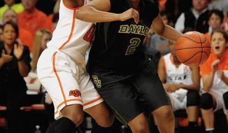 Baylor guard Niya Johnson, right, drives past Oklahoma State guard Roshunda Johnson, during the first half of an NCAA college basketball game in Stillwater, Okla., Sunday, Jan. 26, 2014. (AP Photo/Brody Schmidt)