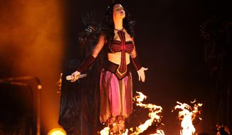"""Katy Perry performs """"Dark Horse"""" at the 56th annual Grammy Awards at Staples Center on Sunday, Jan. 26, 2014, in Los Angeles. (Photo by Matt Sayles/Invision/AP)"""
