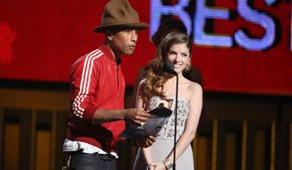 Pharrell Williams, left, and Anna Kendrick present the award for best new artist at the 56th annual Grammy Awards at Staples Center on Sunday, Jan. 26, 2014, in Los Angeles. (Photo by Matt Sayles/Invision/AP)