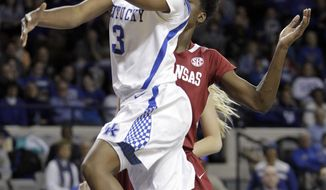 Kentucky's Janee Thompson (3) shoots under pressure from Arkansas' Keira Peak during the first half of NCAA college basketball game, Sunday, Jan. 26, 2014, in Lexington, Ky. (AP Photo/James Crisp)