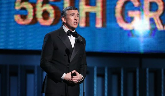 Steve Coogan speaks on stage at the 56th annual Grammy Awards at Staples Center on Sunday, Jan. 26, 2014, in Los Angeles. (Photo by Matt Sayles/Invision/AP)