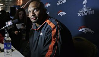 Denver Broncos linebacker Paris Lenon talks with reporters during a news conference Monday, Jan. 27, 2014, in Jersey City, N.J. The Broncos are scheduled to play the Seattle Seahawks in the NFL Super Bowl XLVIII football game Sunday, Feb. 2, in East Rutherford, N.J. (AP Photo/Mark Humphrey)