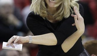 Maryland head coach Brenda Frese gestures after an official's call in the second half of an NCAA college basketball game against Notre Dame in College Park, Md., Monday, Jan. 27, 2014. Notre Dame won 87-83. (AP Photo/Patrick Semansky)