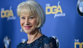 FILE - A Saturday, Jan. 25, 2014 photo from files showing Helen Mirren as she arrives at the 66th Annual DGA Awards Dinner in Los Angeles, Calif. Oscar-winning actress Helen Mirren, whose roles have ranged from a hard-nosed detective and Queen Elizabeth II, is to receive the British Academy Film Awards' highest honor. The academy announced Monday, Jan. 27, 2014, that the 68-year-old will collect the BAFTA Fellowship at a London ceremony next month. (Photo by Richard Shotwell Invision/AP, File)