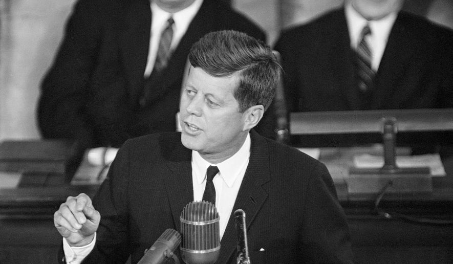 ** FILE ** This Jan. 11, 1962, file photo shows President John F. Kennedy giving his State of the Union address on Capitol Hill in Washington. (AP Photo, File)