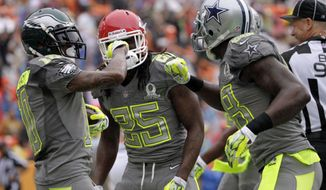 Philadelphia Eagles DeSean Jackson (10) of Team Sanders celebrates with teammates Kansas City Chiefs running back Jamaal Charles (25) and Dallas Cowboys wider receiver Dez Bryant (88) after Jackson caught a pass for a touchdown in the first half  during the Pro Bowl, Sunday, Jan. 26, 2014, at Aloha Stadium in Honolulu. (AP Photo/Eugene Tanner)