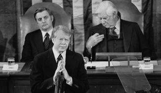 ** FILE ** In this Jan. 19, 1978 file photo, President Jimmy Carter gestures as he delivers his State of the Union Address on Capitol Hill in Washington. (AP Photo, File)