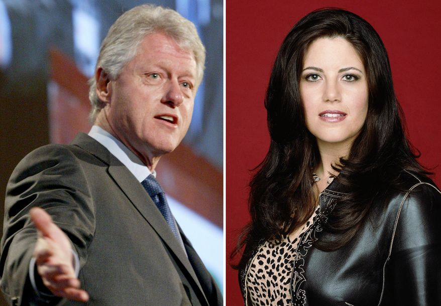Former President Clinton, left, is seen on March 9, 2004, in New York. Monica Lewinsky, is shown in an undated promotional photo provided by Fox. (AP Photo/Mary Altaffer/FOX, S.Jones, File)
