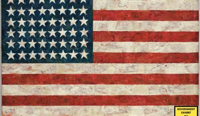 """FILE - In this undated file photo provided by the United States Attorney's Office, a photo showing the iconic 1960 """"Flag"""" painting by contemporary artist Jasper Johns is shown. A former New York foundry owner has admitted lying about the authenticity of a sculpture of Jasper Johns' classic 1960 """"Flag"""" painting. Brian Ramnarine pleaded guilty to three counts of wire fraud Monday, Jan. 27, 2014, in Manhattan federal court. The plea came amid a trial that began last week. (AP Photo/Jasper Johns via the U.S. Attorney's Office, File)"""