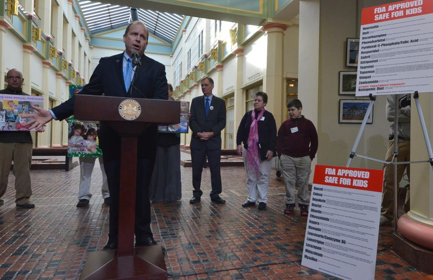 Pennsylvania state Sen. Daylin Leach, D-Montgomery, speaks at a news conference in the Capitol with parents who say their seizure-wracked children might benefit from oil extracted from marijuana, on Tuesday, Jan. 28, 2014 in Harrisburg.  Leach is a prime sponsor of legislation to legalize medical marijuana. (AP Photo/Marc Levy)