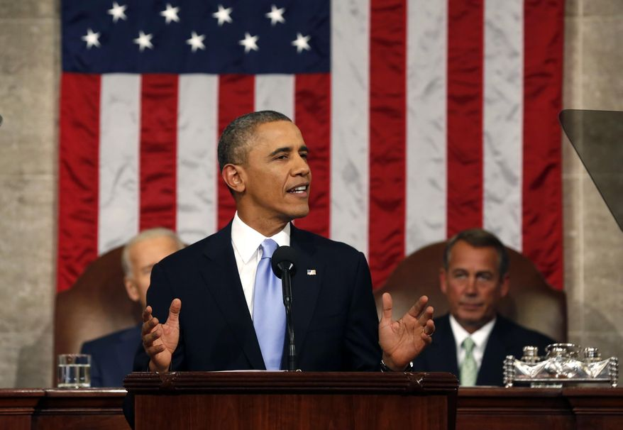 President Barack Obama delivers the State of Union address before a joint session of Congress in the House chamber Tuesday, Jan. 28, 2014, in Washington. (AP Photo/Larry Downing, Pool)