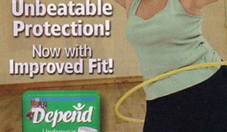 An advertisement for Depend ultra absorbent adult underwear.