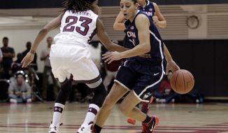 Connecticut's Bria Hartley, right moves the ball up court as Temple's Tyonna Williams (23) defends in the first half of an NCAA college basketball game, Tuesday, Jan. 28, 2014, in Philadelphia. (AP Photo/H. Rumph Jr.)