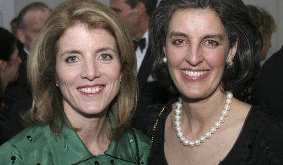 This undated photo released by the John F. Kennedy Library Foundation shows Caroline Kennedy, left, with Heather Campion,.  The John F. Kennedy Library Foundation in Boston on Tuesday Jan. 28, 2014, named Campion  as its first female chief executive.  (AP Photo/John F. Kennedy Library Foundation) NO SALES.