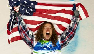 "FILE - In this Feb. 17, 2010, file photo, Shaun White, of the United States, celebrates his gold medal in the men's snowboard halfpipe finals at Cypress Mountain in West Vancouver, Brtish Columbia, at the 2010 Vancouver Olympic Winter Games. White heads to the Sochi winter Olympics as arguably the most famous athlete competing: ""It's going to push me to do things I never would've done before,"" he says. (AP Photo/The Canadian Press, Sean Kilpatrick, File)"