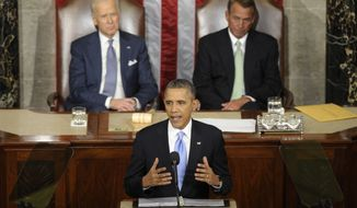 Vice President Joe Biden and House Speaker John Boehner of Ohio listen as President Barack Obama gives his State of the Union address on Capitol Hill in Washington, Tuesday Jan. 28, 2014. (AP Photo/Susan Walsh)