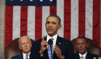 U.S. President Barack Obama delivers his State of the Union speech on Capitol Hill in Washington January 28, 2014.  POOL PHOTO/Larry Downing