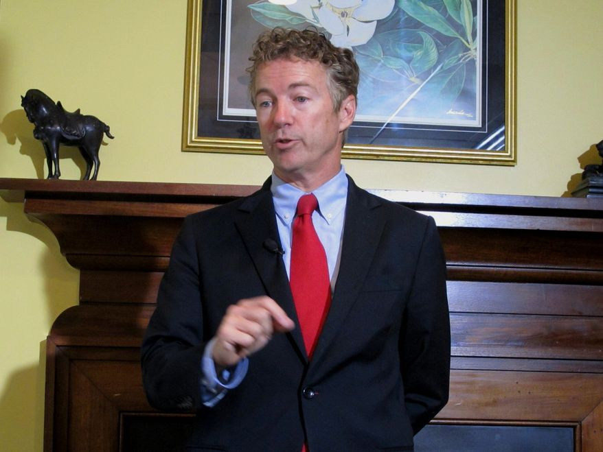 Sen. Rand Paul of Kentucky, one of the most vocal Republicans on the marijuana issue, says legalization should be left to states. (Associated Press) ** FILE **