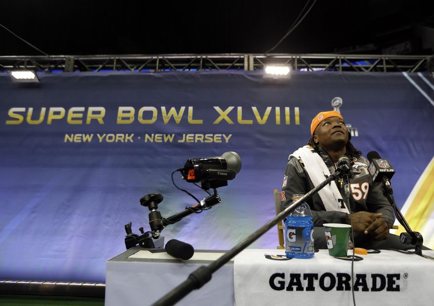 Denver Broncos' Danny Trevathan ponders a question during media day for the NFL Super Bowl XLVIII football game Tuesday, Jan. 28, 2014, in Newark, N.J. (AP Photo/Jeff Roberson)