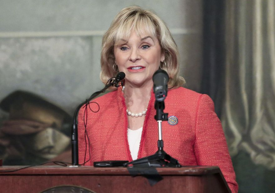 Oklahoma Governor Mary Fallin speaks at a legislative forum hosted by the Associated Press at the Oklahoma State Capitol in Oklahoma City on Wednesday, Jan. 29, 2014. (AP Photo/Alonzo Adams)