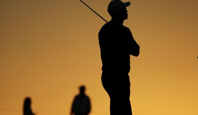 10ThingstoSeeSports - Tiger Woods waits to hit on the second hole during the pro-am at the Farmers Insurance Open golf tournament at Torrey Pines Golf Course on Wednesday, Jan. 22, 2014, in San Diego. (AP Photo/Chris Carlson, File)
