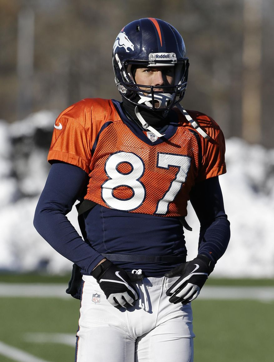 Denver Broncos wide receiver Eric Decker gets set to run a drill during practice Wednesday, Jan. 29, 2014, in Florham Park, N.J. The Broncos are scheduled to play the Seattle Seahawks in the NFL Super Bowl XLVIII football game Sunday, Feb. 2, in East Rutherford, N.J. (AP Photo/Mark Humphrey)