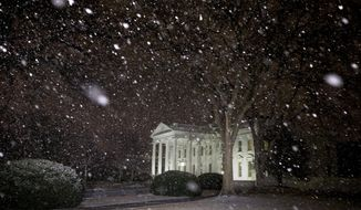 Snow falls at the White House shortly after President Barack Obama returned from the U.S. Capitol where he made his State of the Union speech in Washington, Tuesday Jan. 28, 2014. (AP Photo/Jacquelyn Martin)