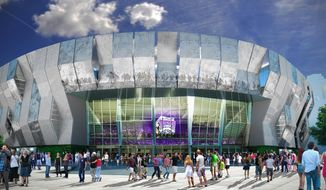 This undated artist rendering released by the Sacramento Kings shows an artists rendering of a downtown Sacramento arena they hope to open for the start of the 2016-17 NBA season. The renderings, released on Tuesday, Jan. 28, 2014, came after six months of workshops, open houses, town halls and focus groups. The Kings said a survey soliciting advice from the public yielded more than 20,000 responses. (AP Photo/Sacramento Kings)