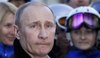 ** FILE ** In this Wednesday, Feb. 6, 2013, file photo Russian President Vladimir Putin visits the Rosa Khutor Alpine Center outside the Black Sea resort of Sochi, southern Russia. (AP Photo/Ivan Sekretarev, File)